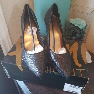 Fioni Night Black Pointed Shiny Party Shoes